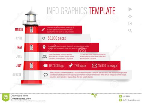 infographics template with red white lighthouse stock