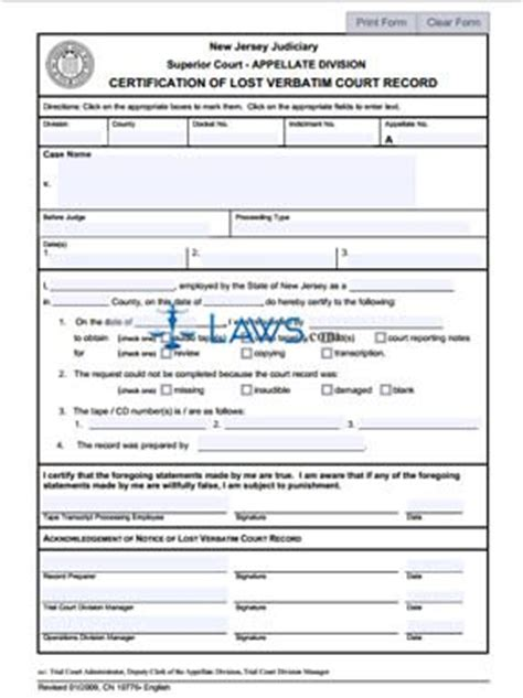 Connecticut Divorce Court Records Certification Of Lost Verbatim Court Record New Jersey Forms Laws