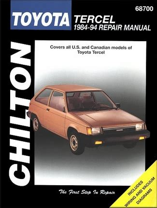 books on how cars work 1994 toyota tercel electronic throttle control toyota tercel repair and service manual 1984 1994 chilton 68700