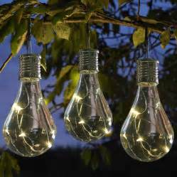 set of six solar lightbulb hanging garden lights by london