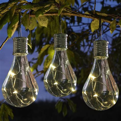 hanging solar garden lights set of six solar lightbulb hanging garden lights by