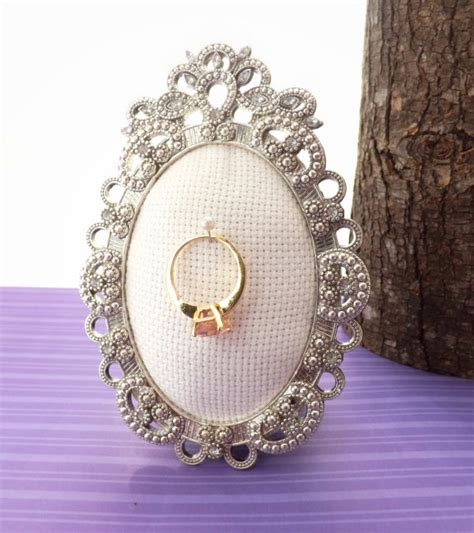 wedding ring holder oval rhinestone frame by juliessugarsoaps