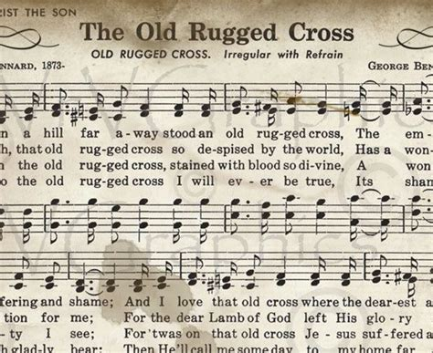 rugged cross song lyrics the rugged cross sheet christian hymn hymnal digital image vintage clipart