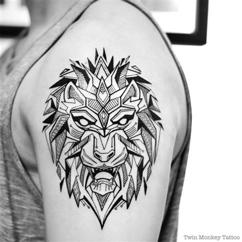 lion geometric tattoo geometric lines tribal geometric