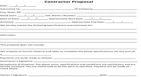 contractor proposal bid form contractor bid agreement