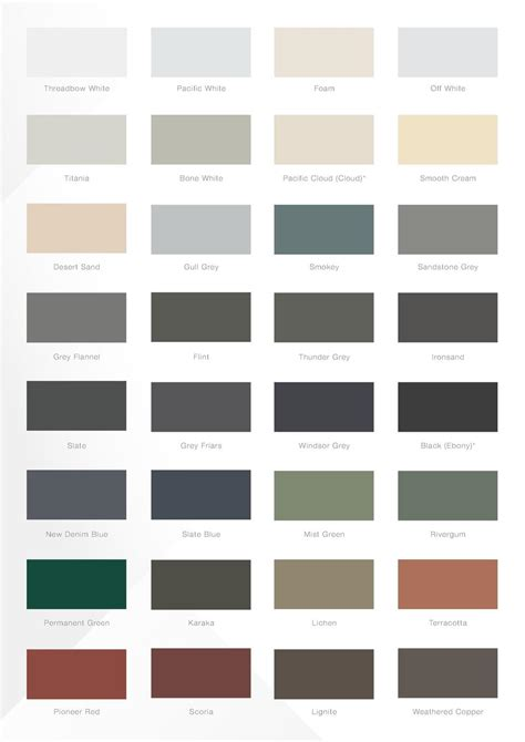 seamless gutters colour chart simplebooklet