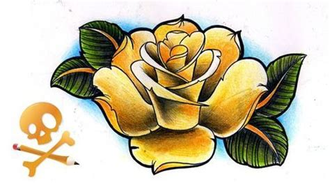old school yellow rose tattoo old school rose tattoo flash tattoo old school roses