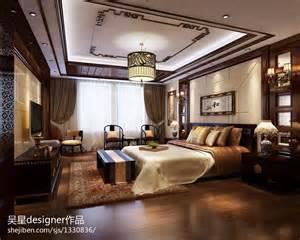 Traditional Chinese Bedroom - 新中式卧室床吊顶装修效果图 设计本装修效果图