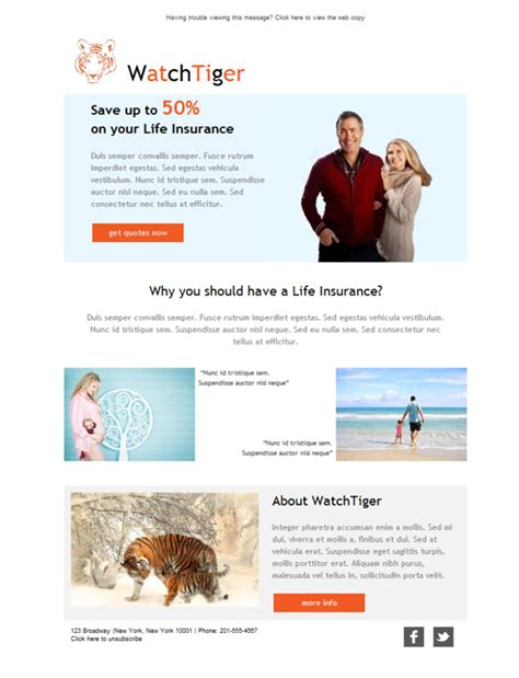 Free Email Templates Download Design Life Insurance Familiy Insurance Newsletter Templates