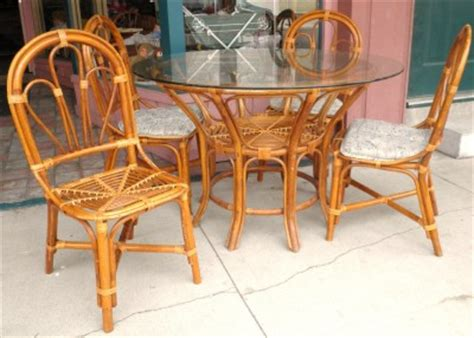vintage antique 6pc rattan bamboo dinning table outdoor