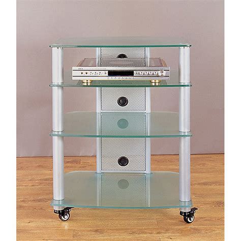 Mobile Audio Rack Vti 4 Shelf Mobile Audio Rack Silver With Frosted Glass