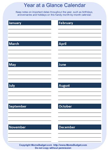 month at a glance budget template calendar template 2016