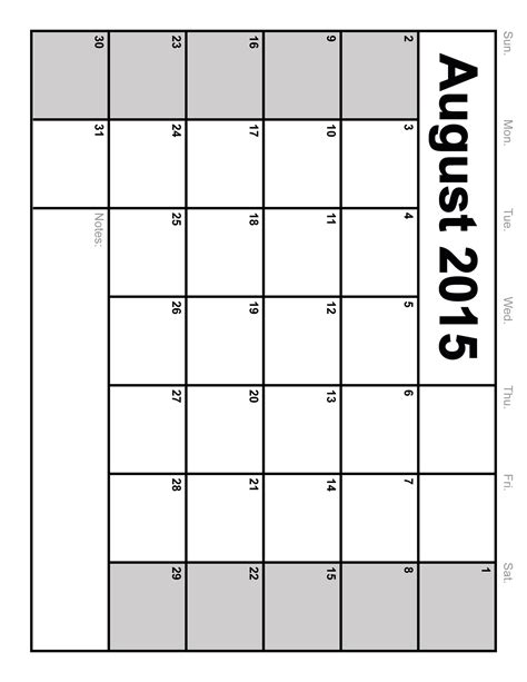 Blank Printable Calendars August 2015 Calendar Printable Template 10 Templates