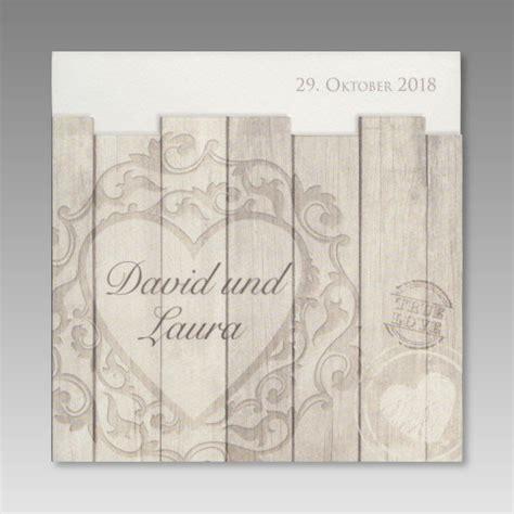 Einladungskarten Hochzeit Design by Rustikale Einladungskarte Zur Hochzeit Holzdesign Mit Herz