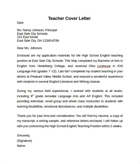 Teacher Cover Letter Example   10  Download Free Documents