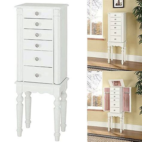 wooden jewelry armoire white finish 929 w60t2 jewelry