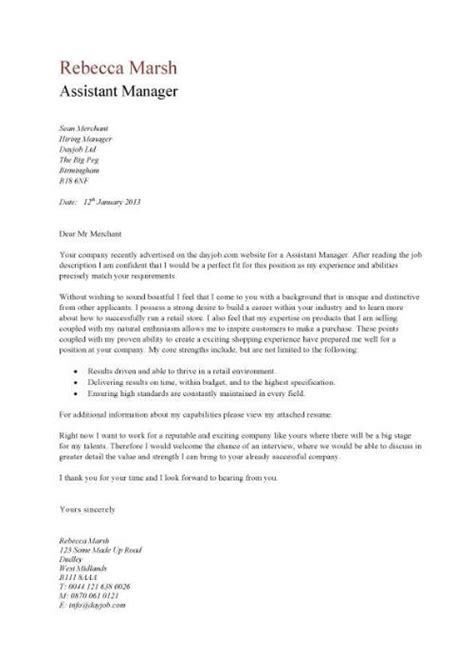 Assistant Manager Cover Letter exle covering letter retail assistant covering letter
