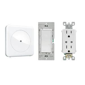 wink smart home convenience with wink hub leviton in wall switch and leviton in wall receptacle