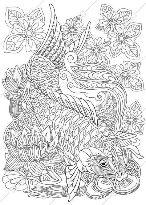 coloring pages  adults koi carp gold fish wealth