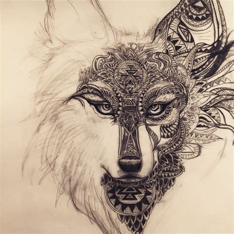 spirit tattoos working on this spirit animal wolf fox design for a