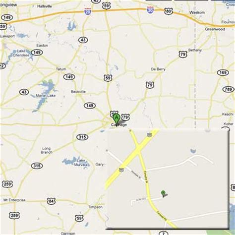 map of carthage texas directions to the carthage texas warehouse for food container ups and deliveries