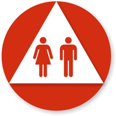 unisex bathrooms california california unisex restroom sign white triangle on red