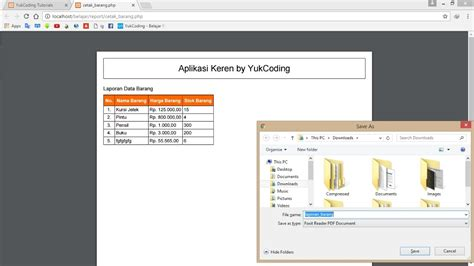 tutorial html2pdf php membuat report laporan pdf dengan html2pdf dan php
