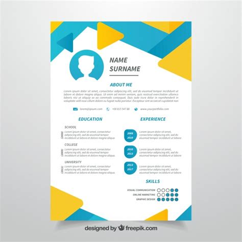cv template free vector abstract cv blue and yellow template vector free download