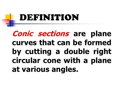 definition of conic section conic sections