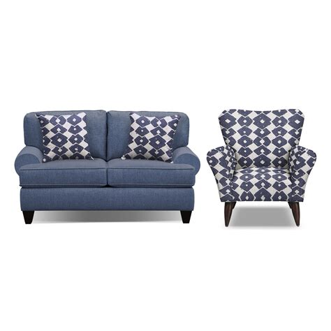 sofa and accent chair set bailey blue 67 quot memory foam sleeper sofa and accent chair
