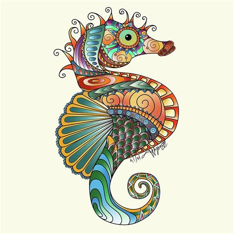 colorful drawings colorful seahorse drawing by becky herrera