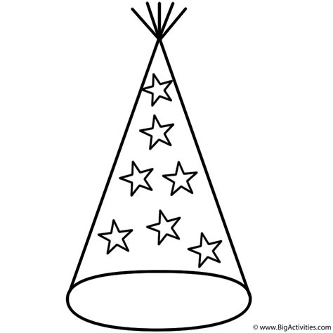 New Year Hat Coloring Pages | party hat with stars coloring page new years