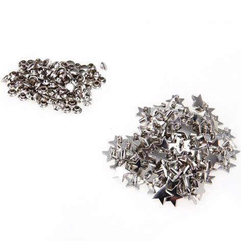 rivets for jewelry 100 alloy rivets screws studs 12mm silver pentagram for
