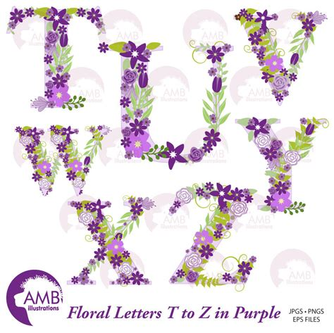 Z Wedding Clip by Floral Alphabet Clipart Shabby Chic Alphabet Purple