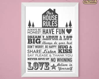 home design rules family rules poster etsy