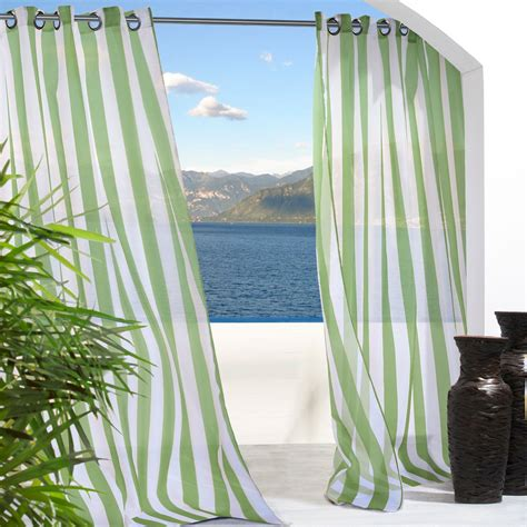 green outdoor curtains shop green stripe escape outdoor curtain with grommets
