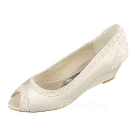 Lace Peep Toe Heel Sandals s lace satin wedge heel peep toe sandals 047090897