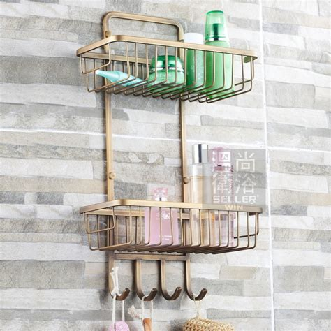 Bathroom Shower Racks Free Shiping Antique Bronze Copper 2 Tier Bathroom Organizer Shower Caddy Decorative Wall