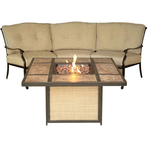 sofa fire traditions crescent sofa and tile top fire pit set