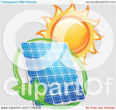 clipart of a blazing sun leaf circle and solar panel