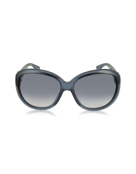 Sungglasses Kacamata Gucci 79917 Box Sleting Lyst Gucci Gg 3712 S 0c6jj Blue Oval Frame Horsebit