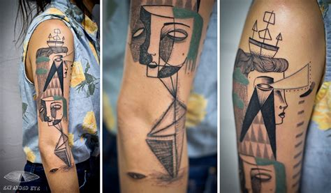 surrealism tattoo artist duo creates surreal cubist tattoos based on clients