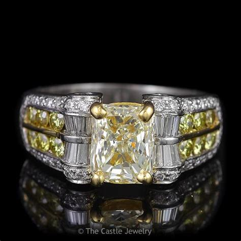 radiant cut fancy yellow engagement ring with
