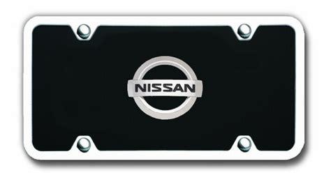 nissan plate frame nissan logo black license plate vanity tag with chrome