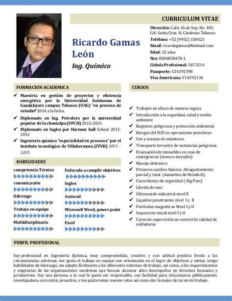 Modelo Curriculum Vitae Ingeniero Quimico Cv 2016 Plantilla Ok