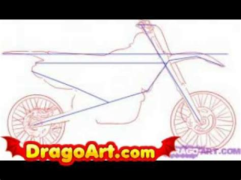 how to draw a motocross how to draw a dirt bike step by step youtube