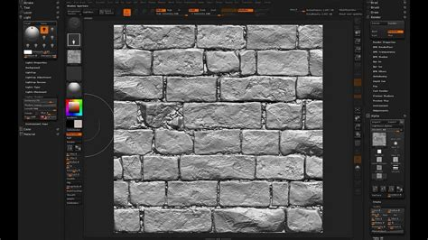 zbrush brick tutorial zbrush tileable textures 03 lighting youtube