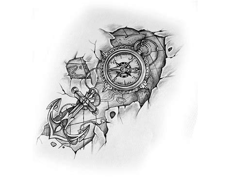 tattoo compass mit karte compass with anchor and map tattoo design tattoo
