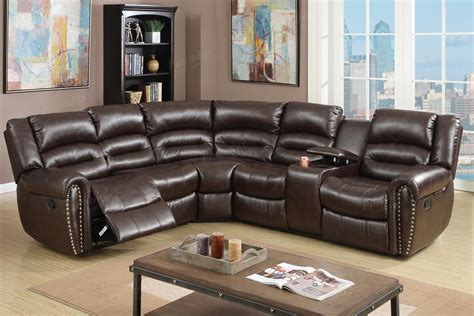 Couches With Recliners Built In by 3 Pcs Reclining Sectional Brown Leather Sofa Set