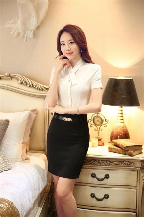 hot office business centres white skirt suits women blouse skirt set summer office